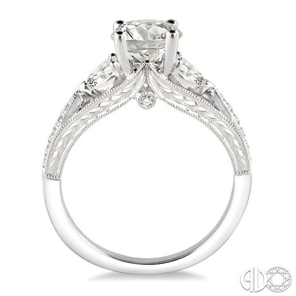 1 1/10 Ctw Diamond Engagement Ring with 3/4 Ct Round Cut Center Stone in 14K White Gold Image 3 Robert Irwin Jewelers Memphis, TN