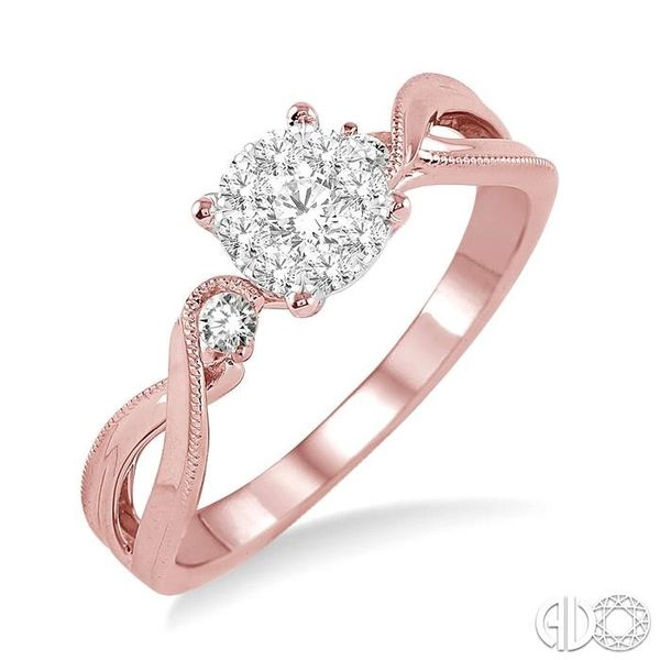 1/3 Ctw Round Cut Diamond Lovebright Engagement Ring in 14K Rose and White Gold Robert Irwin Jewelers Memphis, TN