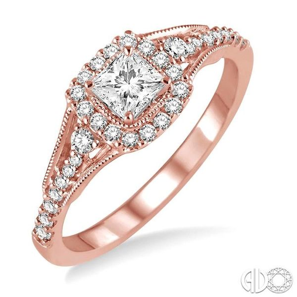 1/2 Ctw Diamond Engagement Ring with 1/5 Ct Princess Cut Center Stone in 14K Rose Gold Robert Irwin Jewelers Memphis, TN