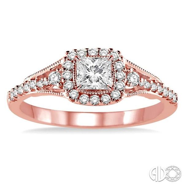 1/2 Ctw Diamond Engagement Ring with 1/5 Ct Princess Cut Center Stone in 14K Rose Gold Image 2 Robert Irwin Jewelers Memphis, TN