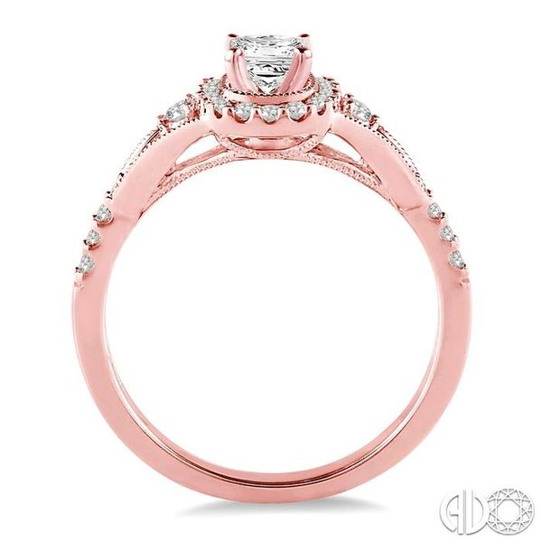1/2 Ctw Diamond Engagement Ring with 1/5 Ct Princess Cut Center Stone in 14K Rose Gold Image 3 Robert Irwin Jewelers Memphis, TN