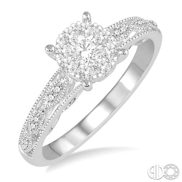 1/3 Ctw Round Cut Diamond Lovebright Engagement Ring in 14K White Gold Robert Irwin Jewelers Memphis, TN