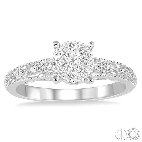 1/3 Ctw Round Cut Diamond Lovebright Engagement Ring in 14K White Gold Image 2 Robert Irwin Jewelers Memphis, TN