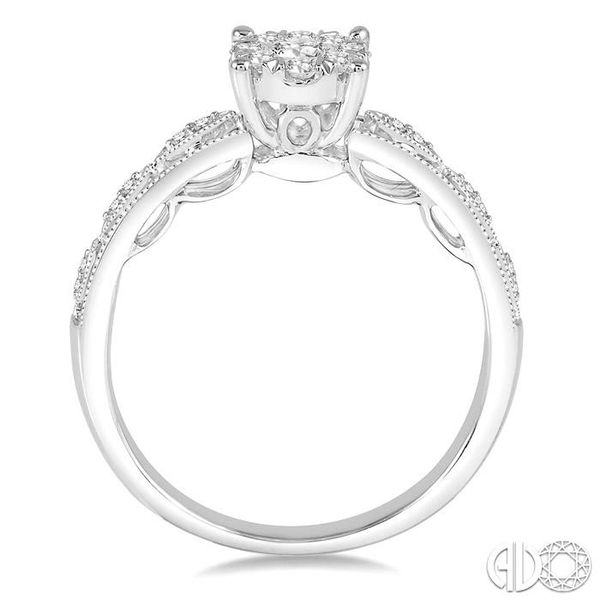 1/3 Ctw Round Cut Diamond Lovebright Engagement Ring in 14K White Gold Image 3 Robert Irwin Jewelers Memphis, TN