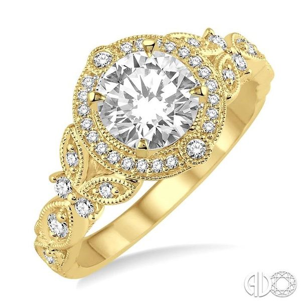 5/8 Ctw Diamond Engagement Ring with 1/2 Ct Round Cut Center Stone in 14K Yellow Gold Robert Irwin Jewelers Memphis, TN