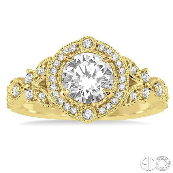 5/8 Ctw Diamond Engagement Ring with 1/2 Ct Round Cut Center Stone in 14K Yellow Gold Image 2 Robert Irwin Jewelers Memphis, TN