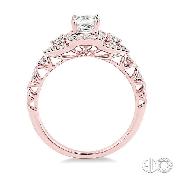 1/2 Ctw Round Cut Diamond Engagement Ring with 1/5 Ct Princess Cut Center Stone in 14K Rose Gold Image 3 Robert Irwin Jewelers Memphis, TN