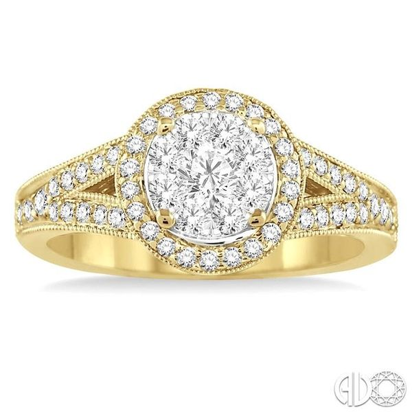 5/8 Ctw Lovebright Round Cut Diamond Engagement Ring in 14K Yellow and White Gold Image 2 Robert Irwin Jewelers Memphis, TN
