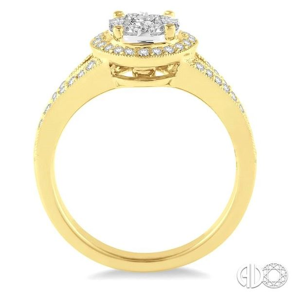 5/8 Ctw Lovebright Round Cut Diamond Engagement Ring in 14K Yellow and White Gold Image 3 Robert Irwin Jewelers Memphis, TN