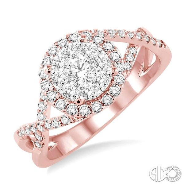 3/4 Ctw Lovebright Round Cut Diamond Engagement Ring in 14K Rose and White Gold Robert Irwin Jewelers Memphis, TN