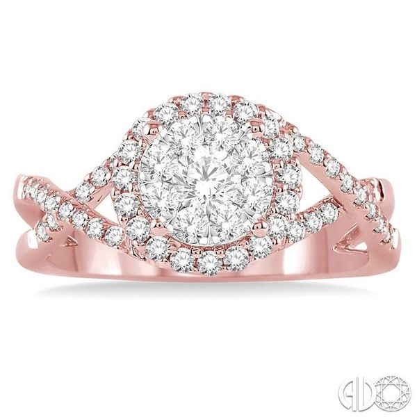 3/4 Ctw Lovebright Round Cut Diamond Engagement Ring in 14K Rose and White Gold Image 2 Robert Irwin Jewelers Memphis, TN