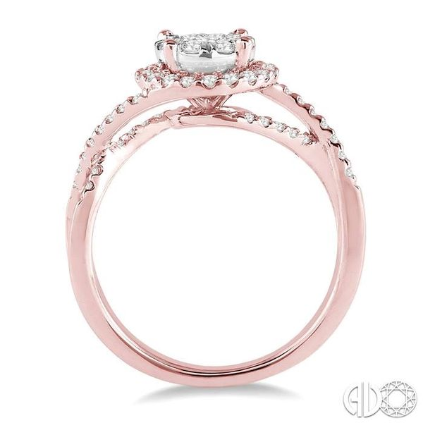 3/4 Ctw Lovebright Round Cut Diamond Engagement Ring in 14K Rose and White Gold Image 3 Robert Irwin Jewelers Memphis, TN