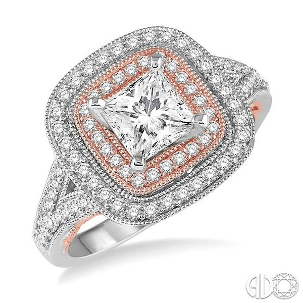 7/8 Ctw Diamond Engagement Ring with 3/8 Ct Princess Cut Center Stone in 14K White and Rose Gold Robert Irwin Jewelers Memphis, TN
