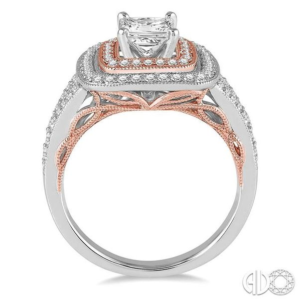 7/8 Ctw Diamond Engagement Ring with 3/8 Ct Princess Cut Center Stone in 14K White and Rose Gold Image 3 Robert Irwin Jewelers Memphis, TN