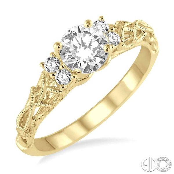 1/3 Ctw Diamond Engagement Ring with 1/4 Ct Round Cut Center Stone in 14K Yellow Gold Robert Irwin Jewelers Memphis, TN