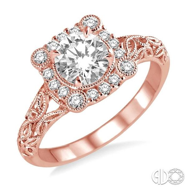 5/8 Ctw Diamond Engagement Ring with 3/8 Ct Round Cut Center Stone in 14K Rose Gold Robert Irwin Jewelers Memphis, TN