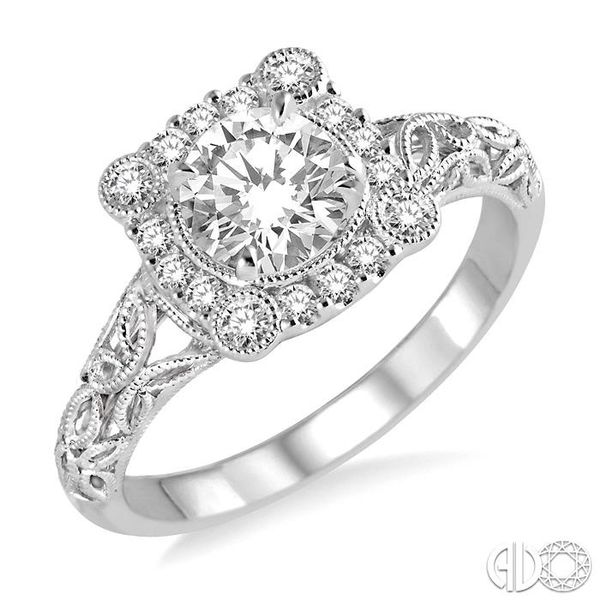 5/8 Ctw Diamond Engagement Ring with 3/8 Ct Round Cut Center Stone in 14K White Gold Robert Irwin Jewelers Memphis, TN