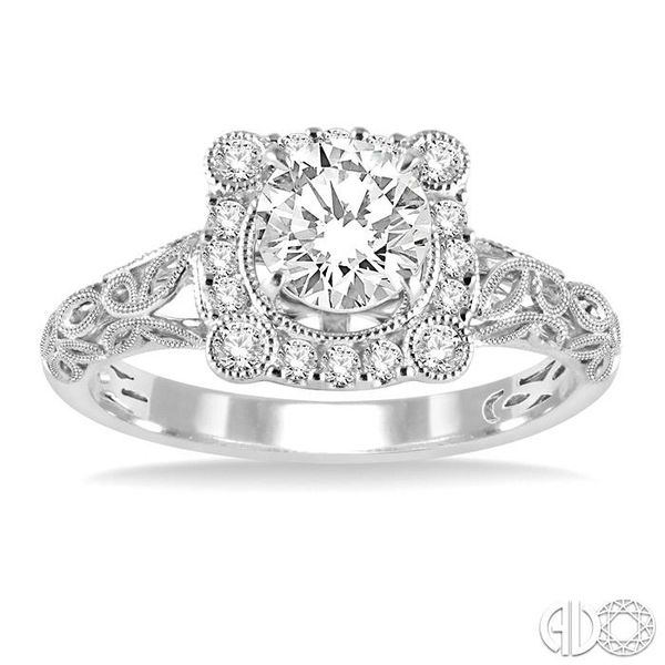 5/8 Ctw Diamond Engagement Ring with 3/8 Ct Round Cut Center Stone in 14K White Gold Image 2 Robert Irwin Jewelers Memphis, TN
