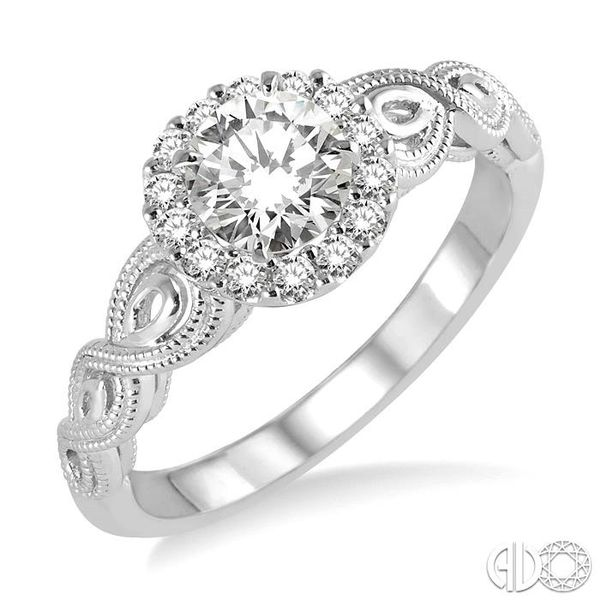 1/2 Ctw Diamond Engagement Ring with 1/3 Ct Round Cut Center Stone in 14K White Gold Robert Irwin Jewelers Memphis, TN
