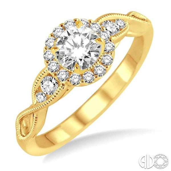 1/2 Ctw Diamond Engagement Ring with 1/5 Ct Round Cut Center Stone in 14K Yellow Gold Robert Irwin Jewelers Memphis, TN