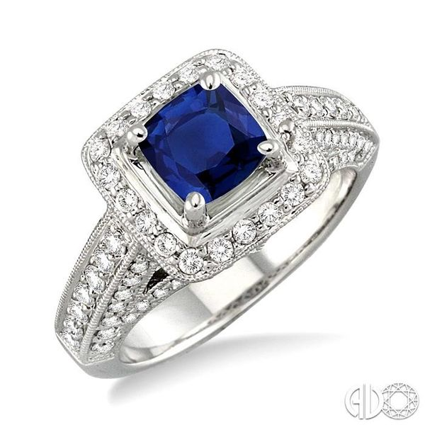 6x6 mm Cushion Cut Sapphire and 1 Ctw Round Cut Diamond Ring in 14K White Gold Robert Irwin Jewelers Memphis, TN