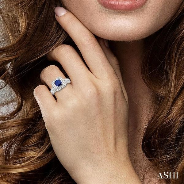 6x6 mm Cushion Cut Sapphire and 1 Ctw Round Cut Diamond Ring in 14K White Gold Image 4 Robert Irwin Jewelers Memphis, TN