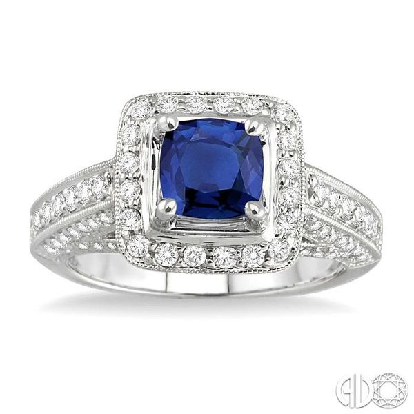 6x6 mm Cushion Cut Sapphire and 1 Ctw Round Cut Diamond Ring in 14K White Gold Image 2 Robert Irwin Jewelers Memphis, TN