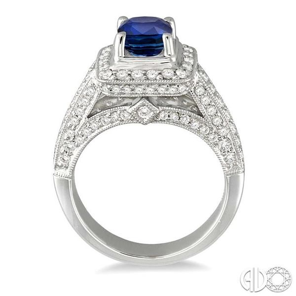 6x6 mm Cushion Cut Sapphire and 1 Ctw Round Cut Diamond Ring in 14K White Gold Image 3 Robert Irwin Jewelers Memphis, TN