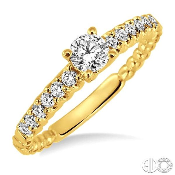 1/2 Ctw Diamond Engagement Ring with 1/4 Ct Round Cut Center Stone in 14K Yellow Gold Robert Irwin Jewelers Memphis, TN