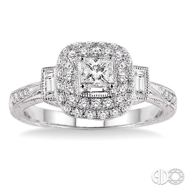7/8 Ctw Diamond Engagement Ring with 1/3 Ct Princess Cut Center Stone in 14K White Gold Image 2 Robert Irwin Jewelers Memphis, TN