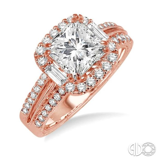 1 Ctw Diamond Engagement Ring with 1/2 Ct Princess Cut Center Stone in 14K Rose Gold Robert Irwin Jewelers Memphis, TN