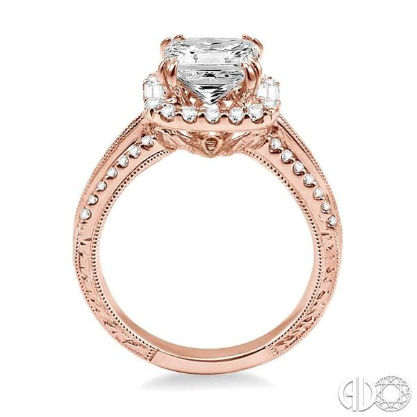 1 Ctw Diamond Engagement Ring with 1/2 Ct Princess Cut Center Stone in 14K Rose Gold Image 3 Robert Irwin Jewelers Memphis, TN