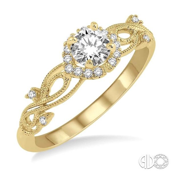 1/3 Ctw Diamond Engagement Ring with 1/5 Ct Round Cut Center Stone in 14K Yellow Gold Robert Irwin Jewelers Memphis, TN