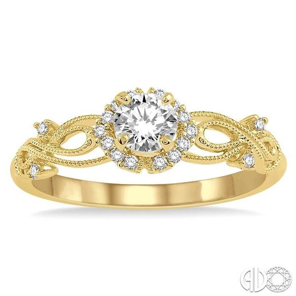 1/3 Ctw Diamond Engagement Ring with 1/5 Ct Round Cut Center Stone in 14K Yellow Gold Image 2 Robert Irwin Jewelers Memphis, TN