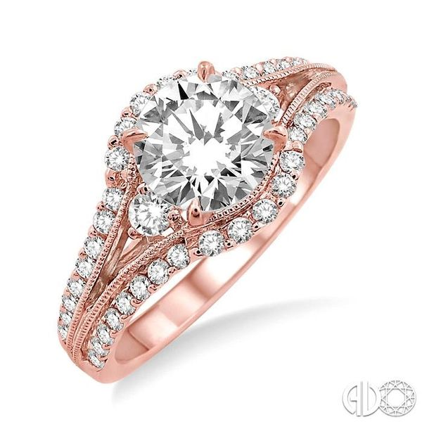 1 1/5 Ctw Diamond Engagement Ring with 3/4 Ct Round Cut Center Stone in 14K Rose Gold Robert Irwin Jewelers Memphis, TN