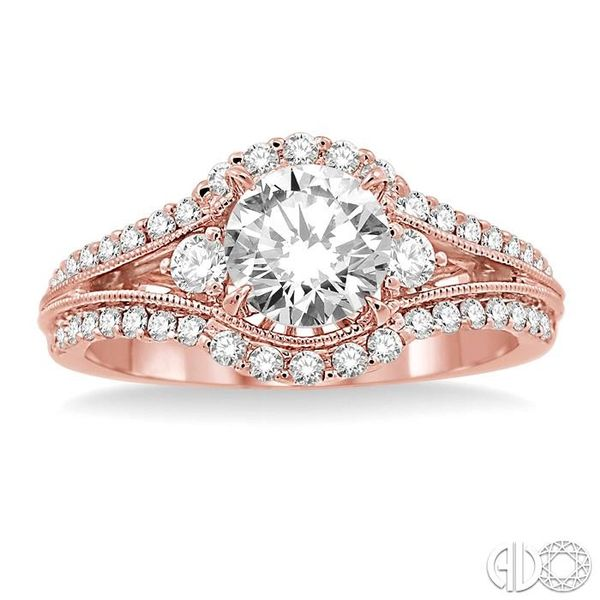 1 1/5 Ctw Diamond Engagement Ring with 3/4 Ct Round Cut Center Stone in 14K Rose Gold Image 2 Robert Irwin Jewelers Memphis, TN