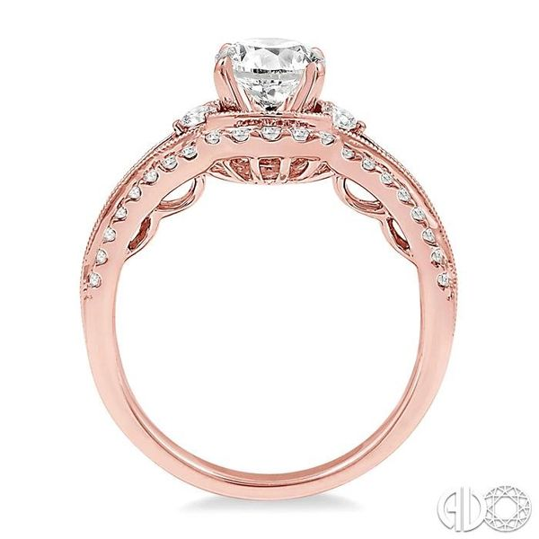 1 1/5 Ctw Diamond Engagement Ring with 3/4 Ct Round Cut Center Stone in 14K Rose Gold Image 3 Robert Irwin Jewelers Memphis, TN