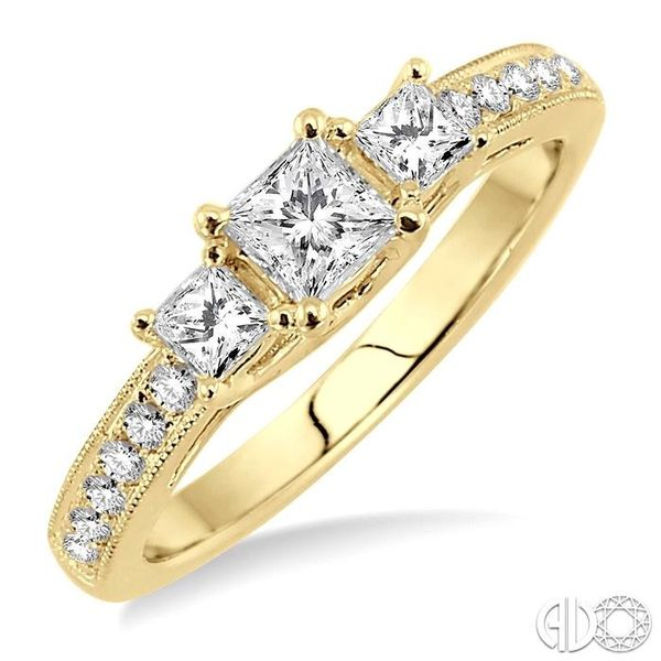 3/4 Ctw Diamond Engagement Ring with 1/3 Ct Princess Cut Center Stone in 14K Yellow Gold Robert Irwin Jewelers Memphis, TN