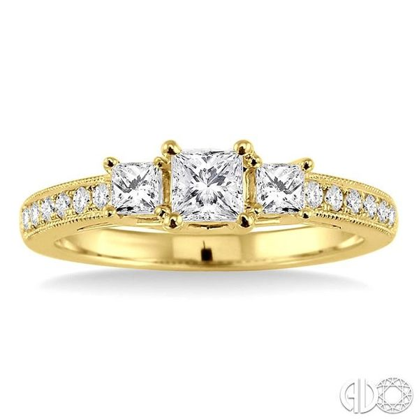3/4 Ctw Diamond Engagement Ring with 1/3 Ct Princess Cut Center Stone in 14K Yellow Gold Image 2 Robert Irwin Jewelers Memphis, TN