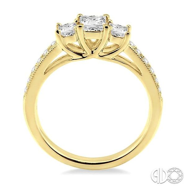 3/4 Ctw Diamond Engagement Ring with 1/3 Ct Princess Cut Center Stone in 14K Yellow Gold Image 3 Robert Irwin Jewelers Memphis, TN
