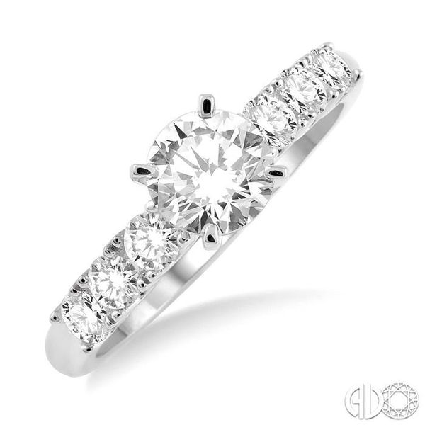 1 Ctw Diamond Engagement Ring with 5/8 Ct Round Cut Center Stone in 14K White Gold Robert Irwin Jewelers Memphis, TN