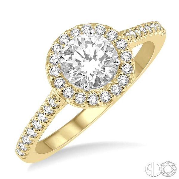 3/4 Ctw Diamond Ladies Engagement Ring with 1/2 Ct Round Cut Center Stone in 14K Yellow and White Gold Robert Irwin Jewelers Memphis, TN