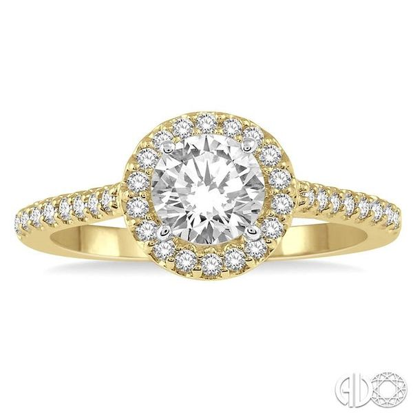 3/4 Ctw Diamond Ladies Engagement Ring with 1/2 Ct Round Cut Center Stone in 14K Yellow and White Gold Image 2 Robert Irwin Jewelers Memphis, TN
