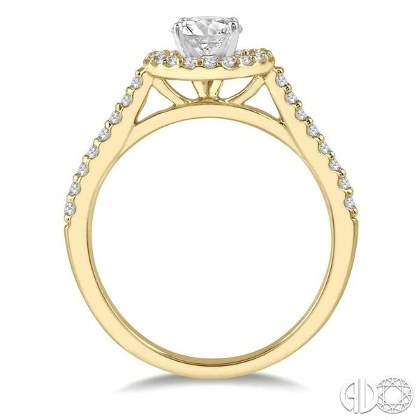 3/4 Ctw Diamond Ladies Engagement Ring with 1/2 Ct Round Cut Center Stone in 14K Yellow and White Gold Image 3 Robert Irwin Jewelers Memphis, TN