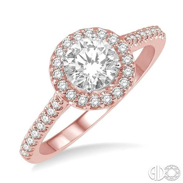 3/8 ct Round Cut Diamond Ladies Engagement Ring in 14K Rose and White Gold Robert Irwin Jewelers Memphis, TN