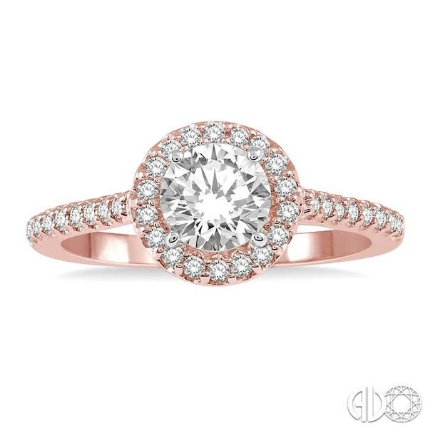 3/8 ct Round Cut Diamond Ladies Engagement Ring in 14K Rose and White Gold Image 2 Robert Irwin Jewelers Memphis, TN