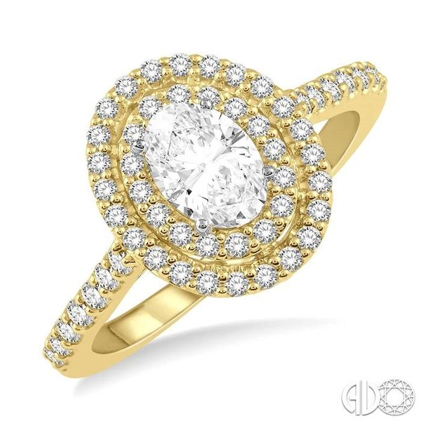 1/2 Ctw Diamond Ladies Engagement Ring with 1/4 Ct Oval Cut Center Stone in 14K Yellow and White Gold Robert Irwin Jewelers Memphis, TN