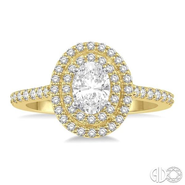 1/2 Ctw Diamond Ladies Engagement Ring with 1/4 Ct Oval Cut Center Stone in 14K Yellow and White Gold Image 2 Robert Irwin Jewelers Memphis, TN