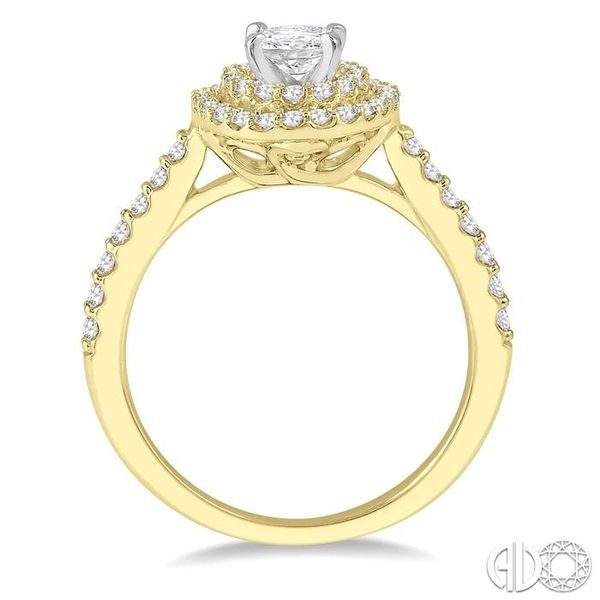 1/2 Ctw Diamond Ladies Engagement Ring with 1/4 Ct Oval Cut Center Stone in 14K Yellow and White Gold Image 3 Robert Irwin Jewelers Memphis, TN