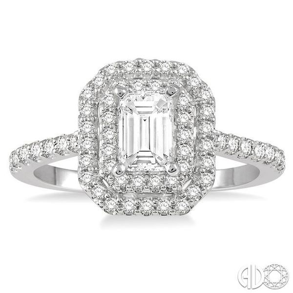 1 Ctw Diamond Ladies Engagement Ring with 1/2 Ct Emerald Cut Center Stone in 14K White Gold Image 2 Robert Irwin Jewelers Memphis, TN